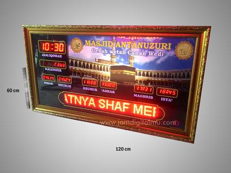 Gambar Jam Digital Masjid Running Text