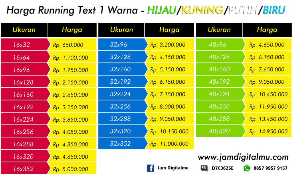 Harga Running Text Hijau Kuning Putih Biru