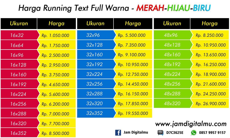 Harga Running Text Berbagai Ukuran Dan Warna